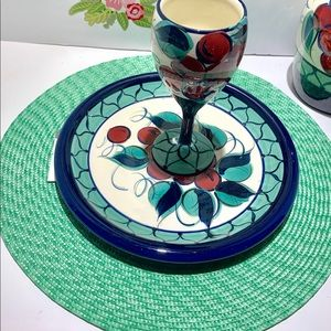 "Four 15"" green placemats"